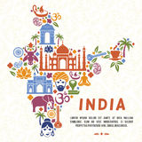 Traditional Indian symbols in the form of India map. India traditional, indian culture, india country, vector illustration Royalty Free Stock Image