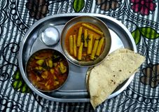 Traditional Indian Thali, Healthy Home Food. Stock Photo