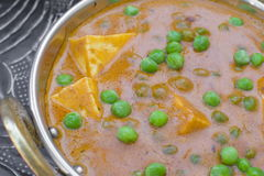 Traditional indian tikka Mutter Paneer. Wiath cheese and pea Royalty Free Stock Photography