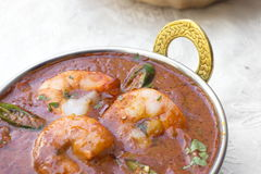 Traditional indian tikka Prawn Vindaloo. With pepper Stock Photography