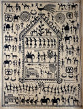 Traditional Indian tribal art on silk Stock Images