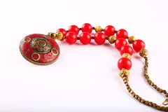 Traditional Indian  tribal jewelry with beads. On a white  background Royalty Free Stock Photo