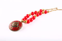 Traditional Indian  tribal jewelry with beads. On a white  background Stock Images