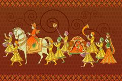 Traditional Indian Wedding. Easy to edit vector illustration of traditional Indian wedding barati Stock Photo