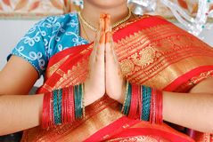 Traditional Indian welcome pose Royalty Free Stock Images