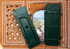 Traditional Indian window. In the Palace Hawa Mahal Palace of Winds of , Japur  Rajasthan, India Stock Photography