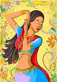 Traditional Indian woman in dancing pose. Vector illustration Stock Image