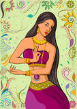 Traditional Indian woman in dancing pose. Vector illustration Royalty Free Stock Photography