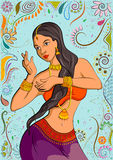 Traditional Indian woman in dancing pose. Vector illustration Royalty Free Stock Images