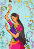 Traditional Indian woman in dancing pose. Vector illustration Royalty Free Stock Image