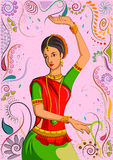 Traditional Indian woman in dancing pose. Vector illustration Stock Photos
