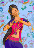 Traditional Indian woman in dancing pose Royalty Free Stock Photography