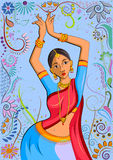 Traditional Indian woman in dancing pose. Vector illustration Stock Images