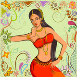 Traditional Indian woman in dancing pose. Vector illustration Royalty Free Stock Photos