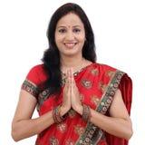 Traditional Indian woman woman greeting Namaste Royalty Free Stock Image