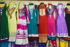 Traditional Indian women`s clothing for sale stock photos