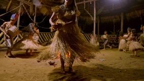 Traditional indigenous ceremony in the jungle by night. Around the fire in Ecuador stock video