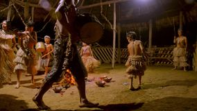 Traditional Indigenous Ceremony In The Jungle By Night. Around The Fire In Ecuador stock video footage