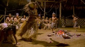 Traditional Indigenous Ceremony In The Jungle By Night. With Kids Running Around The Fire In Ecuador stock video footage
