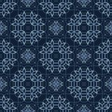 Traditional Indigo Blue Japanese Seamless Vector Pattern. Lace Quilt royalty free illustration