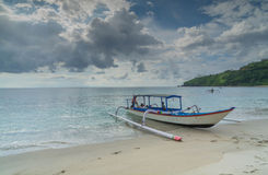Traditional indonesian boat on the beach Stock Photo
