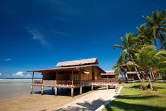 Traditional Indonesian chalet in an island resort Royalty Free Stock Image