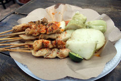 Traditional Indonesian chicken sate taican snacks fast food roasted chilli sauce Royalty Free Stock Photography