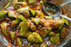 Traditional indonesian food culinary. Terong balado, eggplant with chilli sauce paste traditional indonesian food royalty free stock images