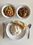 Traditional Indonesian Food. A flat layout of traditional Indonesian food royalty free stock photography