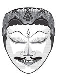Traditional Indonesian Mask In Vector. Traditional Indonesian Mask in black and white Royalty Free Stock Photo