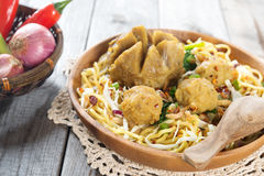 Traditional Indonesian meatball noodles stock photo