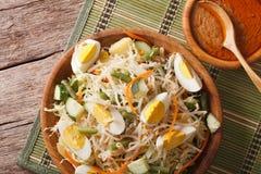 Traditional Indonesian salad gado-gado closeup. Horizontal top v Royalty Free Stock Image