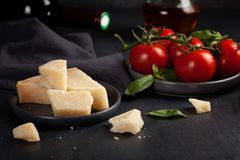 Traditional ingredients of italian culinary and parmesan cheese Stock Images