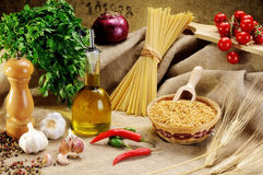 Traditional ingredients for seasoning pasta Stock Photos