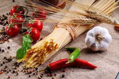 Traditional ingredients for seasoning pasta Royalty Free Stock Photo