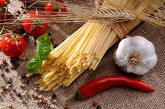 Traditional ingredients for seasoning pasta Stock Image
