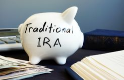 Traditional ira handwritten on a side of piggy bank. Traditional ira handwritten on the side of piggy bank stock photo