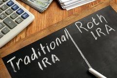 Traditional IRA vs Roth IRA written on blackboard. Traditional IRA vs Roth IRA handwritten on blackboard royalty free stock photos