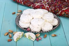 Traditional Iranian and Persian pieces of white nougat dessert s