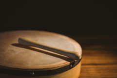 Traditional Irish bodhran and stick Stock Images