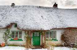 Traditional irish cottage at winter time Stock Photo