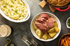 Traditional Irish dinner with corned beef and colcannon Stock Photography