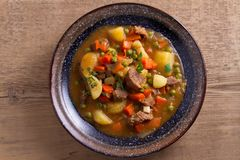 Traditional Irish lamb stew. Nutritious savory dish, popular in Ireland. View from above, top Royalty Free Stock Photography