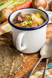 Traditional irish lamb stew with potato, carrot, celery and spr. Home made traditional irish lamb stew with potato, carrot, celery and spring onion in an white Stock Images