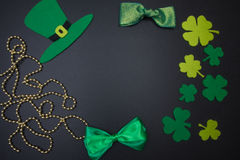 Traditional Irish Party Supplies St. Patrick on black background Stock Photo