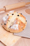 Traditional irish soda bread with raisins Stock Images