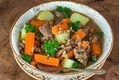 Traditional Irish stew. With lamb, potatoes, carrot and barley Stock Photo