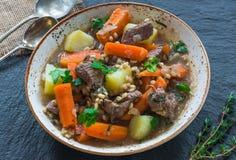 Traditional Irish stew - high angle view. Traditional Irish stew with lamb, potatoes, carrot and barley - high angle view Royalty Free Stock Photos