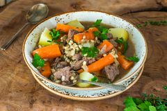 Traditional Irish stew. With lamb, potatoes, carrot and barley Stock Image