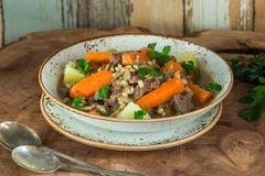 Traditional Irish stew. With lamb, potatoes, carrot and barley Royalty Free Stock Photos